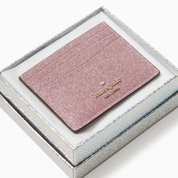 lola small glitter slim card holder in a gift box